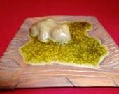 Ceramic Soap Dish, Ceramic Spoon Rest, Glass and Pottery, Frog Pottery, Frog Spoon Rest, Frog Soap Dish, Wood Grain Dish, Wood Grain Pottery