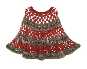 Hand Crocheted Poncho L XL 1X Plus Size Sweater Cape Orange Green Made in USA