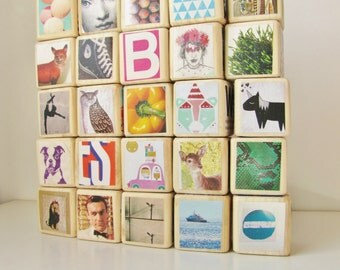 Kids Wooden Blocks / Large Set / Hipster. Unique baby Shower Gift. eco-friendly. Upcycled Toy. Children. Nursery Decoration. One of a Kind.