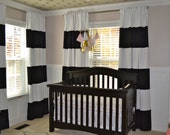 "84"" Black and White horizontal striped CURTAINS CUSTOM"