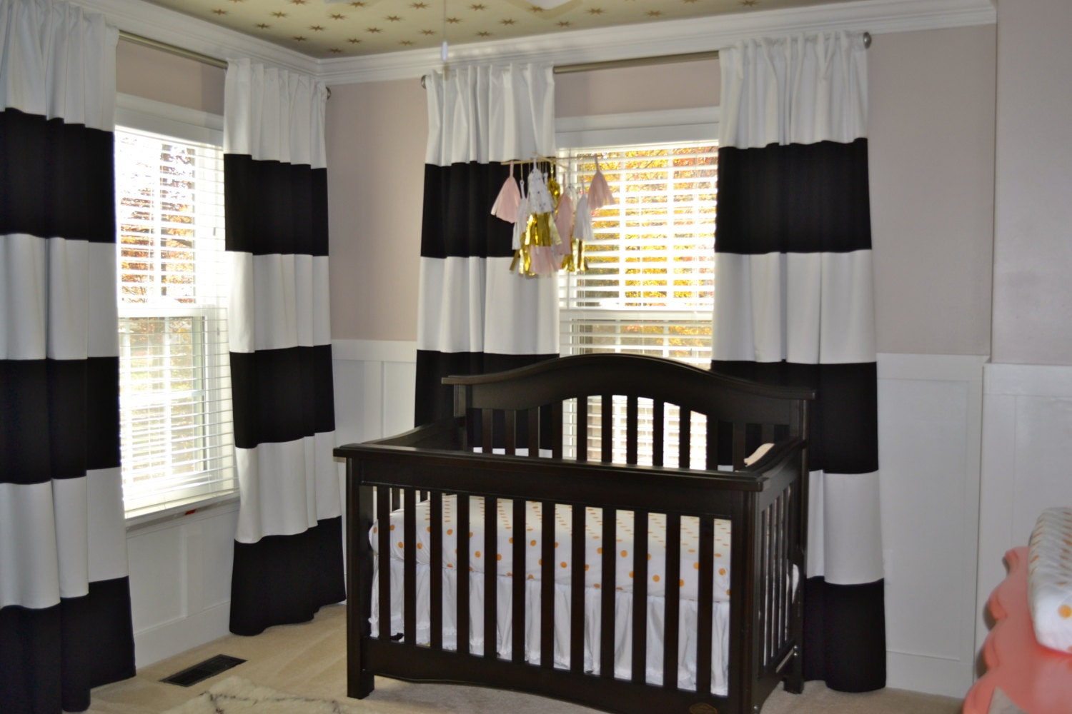 84 black and white horizontal striped curtains custom. Black Bedroom Furniture Sets. Home Design Ideas