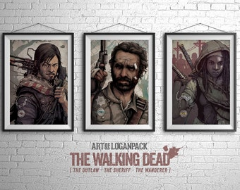 "THE WALKING DEAD - ""We Are The Walking Dead"" Series - Rick Grimes, Daryl Dixon and Michonne - Art Print Set of 3"