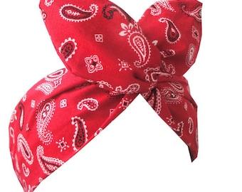 Red Paisley print Rockabilly Wire Headband - Bandana