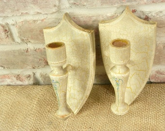 Antique Romantic French Wood Candle Sconces Crackled Ivory with Pinted Blue Flowers