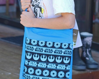 Library Bag satchel with over shoulder strap Star Wars Blue Boy Fabric Toy Overnight Bag Gift - Back to School