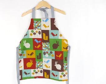 Organic Animal Fabric Children's Apron Scandinavian Style Fabric Craft Apron