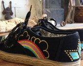 Vintage Rainbow Psychedelic Tennis Shoes Sz 8.5 or 9