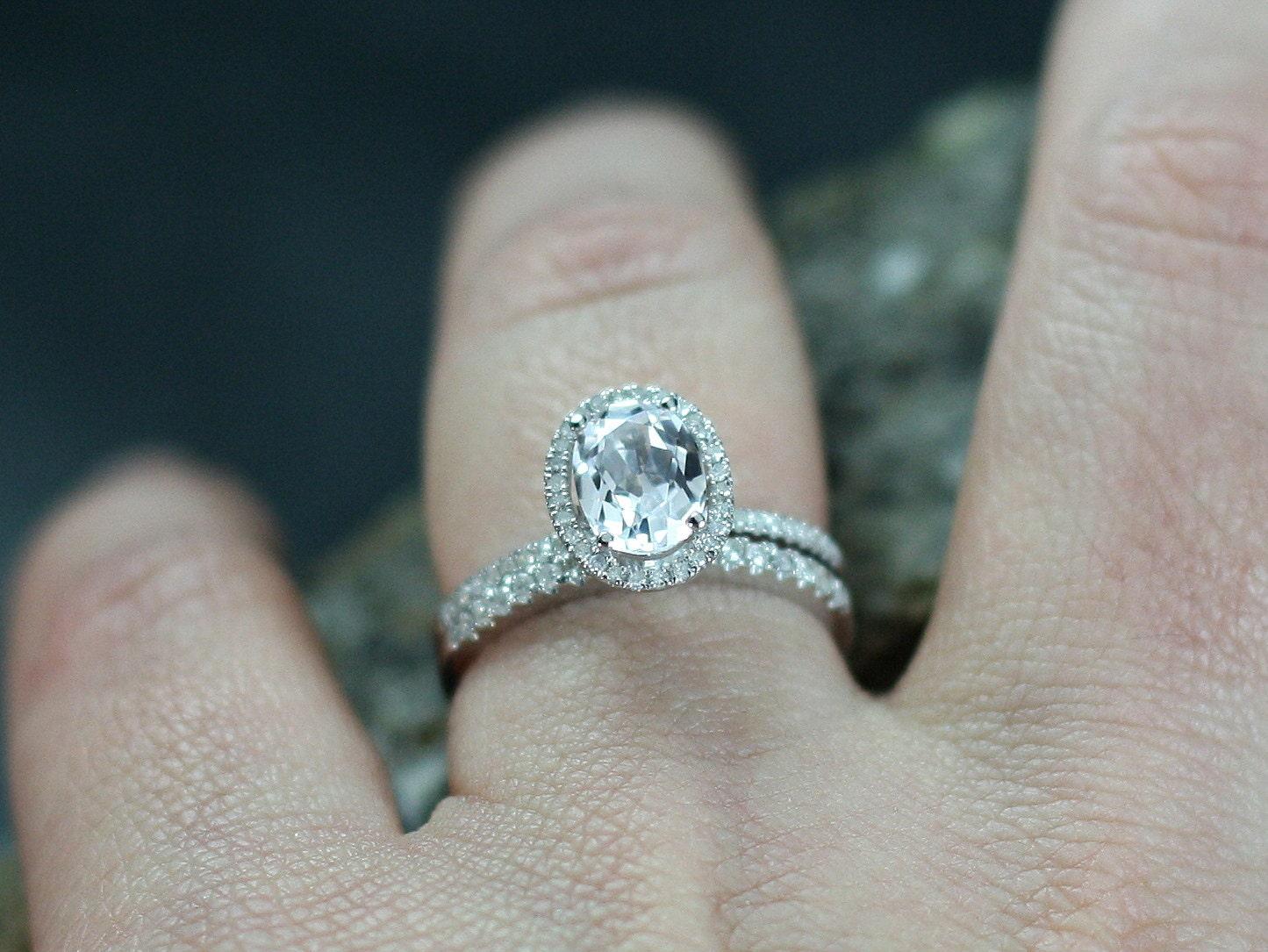 white topaz engagement ring diamonds oval halo set ovale
