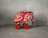 Nursery decor, Baby shower rustic home decor Ethnic tribal poppy red, vintage style toy, french baby toys, doll,  red and ivory