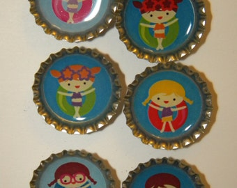 Swimming Kids Bottlecap Magnet 6-Pack No. 2