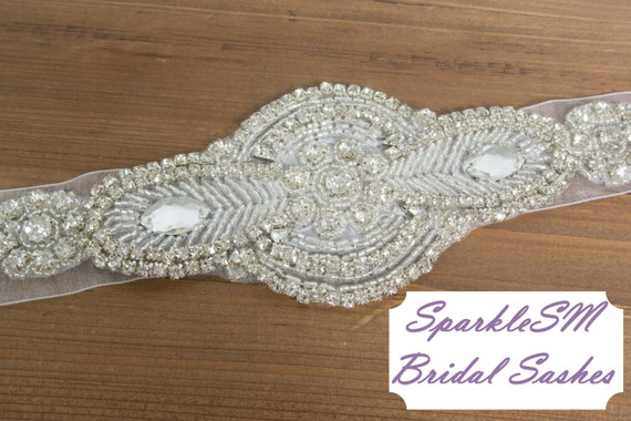 Wedding Sash, Bridal Belt, Bridal Sash, Satin Ribbon, Crystal Rhinestone Beaded Applique, Bridal Belt, SparkleSM Bridal Sashes, Delaney