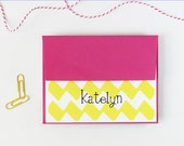 Custom Stationary Bright Pink and Yellow Chevron Personalized Stationery Colorful Yellow Zig Zag with Pink Envelopes - Set of 10