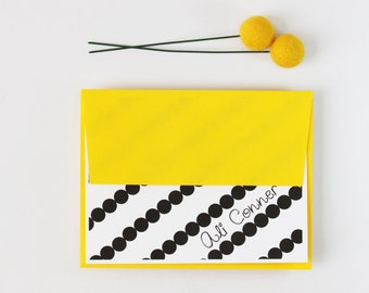 Personalized Stationary Custom Stationery Thank You Notes Black and Yellow Stripes Personalized Teacher Gifts Girls Stationary Note Cards