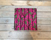 Dutch Wax Cloth Vibrant Pink with Green Leaves by the yard