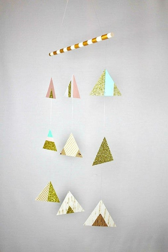 Gold Nursery Decor...nursery mobile, gold nursery art, baby girl nursery, aztec nursery, baby mobile, pink nursery decor, woodland nursery