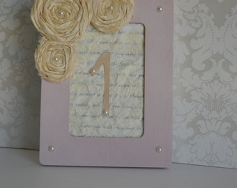 Blush Pink Wedding Table Numbers: Painted frames with Handmade flowers totally Customizable