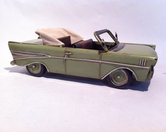 Tin Metal Car - Green 57 Chevy Convertible Car - American Classic Chevrolet Toy Desk Ornament - Gift for Him
