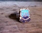 Souvenir Shield Charm Vintage Enamel  Adjustable Rings - Weymouth