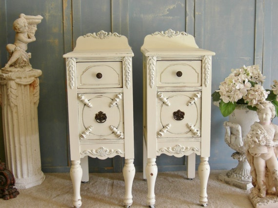 items similar to shabby white nightstands antique hand. Black Bedroom Furniture Sets. Home Design Ideas
