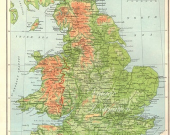 Antique 1940s Map ENGLAND and WALES Vintage Map atlas page