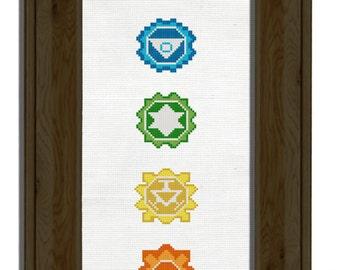 Chakras Cross Stitch Pattern Instant Download Easy needlepoint design yoga spiritual meditation art