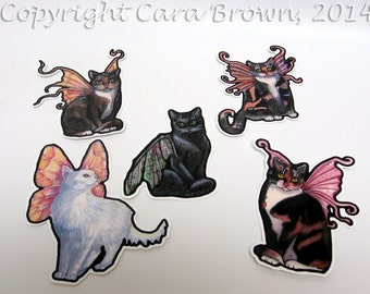 Cat Fairy Sticker set waterproof Vinyl for car window bumper iPhone case Decal
