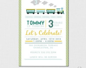 Train Invitation - Birthday Invitation - Printable Train Invitation