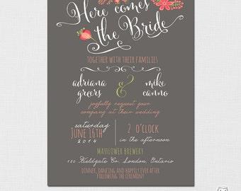 Wedding Invitation - Floral Wedding Invitation, Shabby Chic Wedding Invitations, Here comes the bride, Rustic Wedding Invitation - PRINTABLE