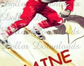 Maine Winter Sports, with Skier In Red Flying Down the Slopes Vintage Travel Poster Digital Image Download No. 4586