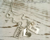 Stamped YOU & ME Necklace . Valentines Jewelry . Love Necklace . Custom Jewelry . Personalized . Silver Necklace . Love Jewelry . Stamped