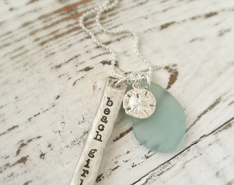 Beach Girl Necklace . Glass Bottle Stone . Sand Dollar Necklace . Summer Jewelry . Hand Stamped . Personalized Jewelry . Handmade Jewelry