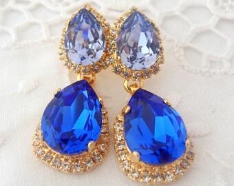 Blue Sapphire sky blue Chandelier earrings, Bridal earrings, bridesmaids gift, 14k Gold earrings, Dangle earrings, Rhinestone earring