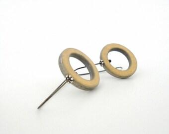 Geometric clay hoop earrings, modern jewelry, sterling silver, air dry clay jewelry, vanilla yellow, grey minimal, eco friendly organic