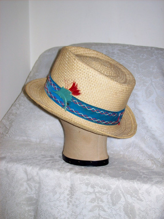 Vintage 1960s men 39 s straw pork pie sun or fishing hat only for Fishing straw hat