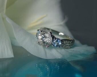 Herkimer Diamond and Aquamarine Engagement Ring