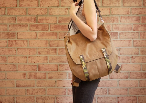 Waxed Canvas Backpack Messenger in Spice- 2 in 1 Vegan Padded Rucksack/ Back to School (Made to Order)