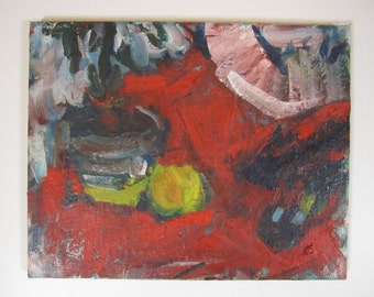 "Laurie Pizzuto ""Red Still Life"" 1967 Oil Painting"