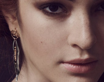 Whisper Maya earring, Sterling Silver earring with Handmade granulation and 24K goldplated