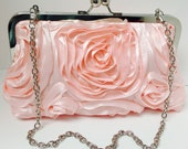 Light Pink Romantic Rosette Clutch with Chain Wedding Clutch Ready to Ship
