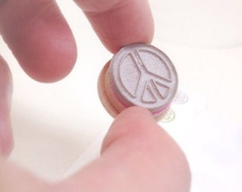 """Peace Symbol Small 3/4"""" rubber stamp"""