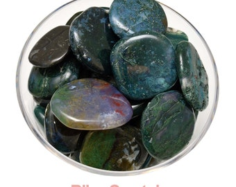1 (One) GREEN MOSS AGATE Tumbled & Polished Palm Stone Crystal, Healing Crystals and Stones