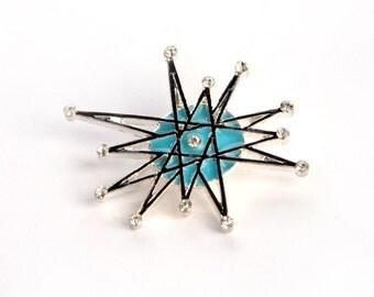 handpainted- ATOMIC STARBURST retro vintage look  franciscan BROOCH rhinestone pin jewelry pinup  star burst mid century sputnik