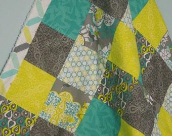 modern patchwork baby blanket keepsake quilt - fresh and clean - citron yellow, grey, teal, white, chevron,  ice blue fluff