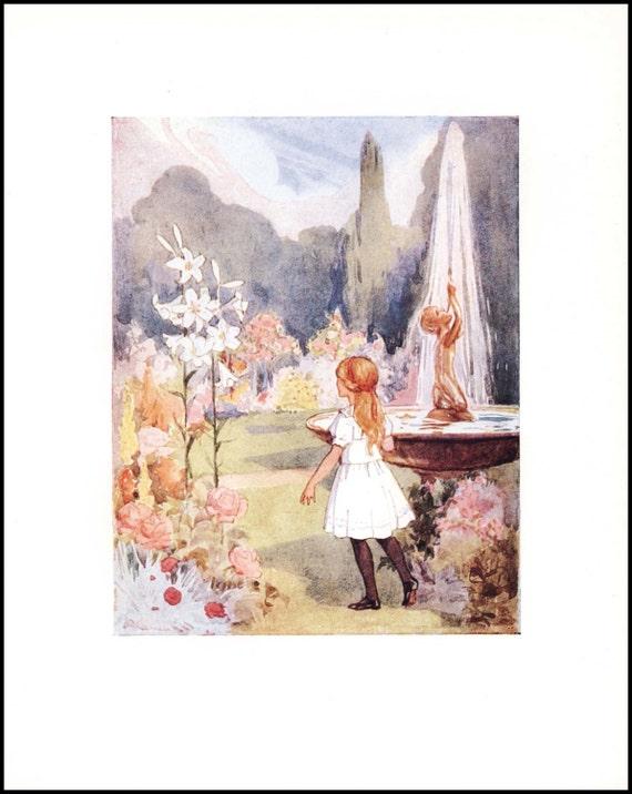 alice in wonderland print magic garden by paragonvintageprints. Black Bedroom Furniture Sets. Home Design Ideas