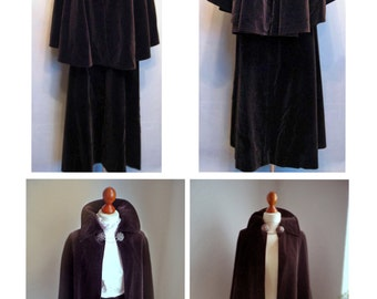 Velvet Cape Maxi Skirt SET/ Authentic Bavarian Folk Costume / Maroon Brown Traditional victorian steampunk fantasy Elven Medieval inspired