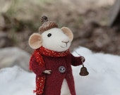 Little Christmas Mouse- Christmas-Winter Seasonal Ornament- Felting Dreams - READY TO SHIP