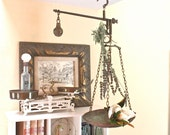 Vintage Hanging Scale Brass Metal with Hooks and Weight Balance Industrial Rustic Kitchen Scale