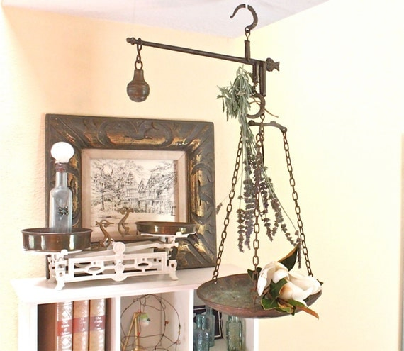 Vintage Hanging Scale Brass Metal With Hooks And Weight
