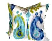 Braemore Wedgewood Blue & Grey Ikat Decorative Pillow 18x18 20x20 22x22 or 14x20 Lumbar Pillow Accent Pillow Throw Pillow Toss Pillow