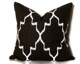 Brown and White Pillow Accent Pillow Cover Decorative Pillow 18x18 20x20 22x22 or 14x20 Lumbar Pillow Ikat Trellis Pillow Accent Pillow